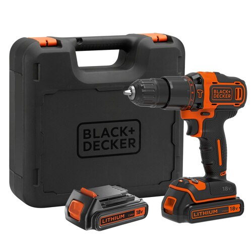 Black and Decker - 18V Lithiumion 2 Gear Hammer Drill  400mA charger  2 batteries  Kitbox - BDCHD18KB